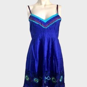 NWT Bright Blue Sugar Lips Silk Dress